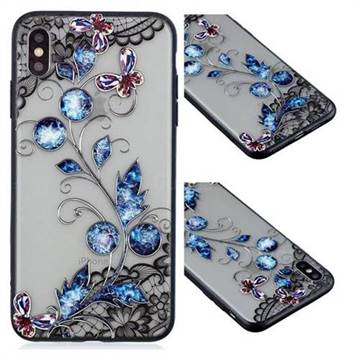 Butterfly Lace Diamond Flower Soft TPU Back Cover for iPhone XS Max (6.5 inch)
