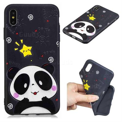Cute Bear 3D Embossed Relief Black TPU Cell Phone Back Cover for iPhone XS Max (6.5 inch)