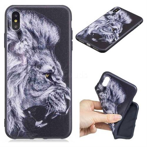 Lion 3D Embossed Relief Black TPU Cell Phone Back Cover for iPhone XS Max (6.5 inch)