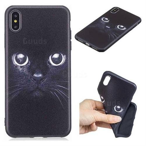 Bearded Feline 3D Embossed Relief Black TPU Cell Phone Back Cover for iPhone XS Max (6.5 inch)