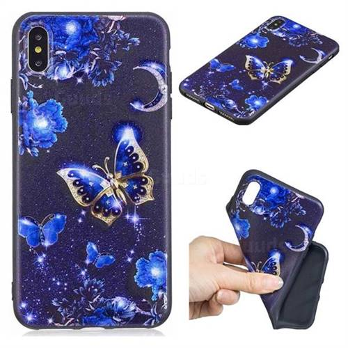 Phnom Penh Butterfly 3D Embossed Relief Black TPU Cell Phone Back Cover for iPhone XS Max (6.5 inch)