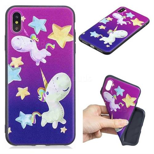 Pony 3D Embossed Relief Black TPU Cell Phone Back Cover for iPhone XS Max (6.5 inch)