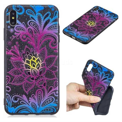 Colorful Lace 3D Embossed Relief Black TPU Cell Phone Back Cover for iPhone XS Max (6.5 inch)