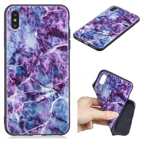 Marble 3D Embossed Relief Black TPU Cell Phone Back Cover for iPhone XS Max (6.5 inch)
