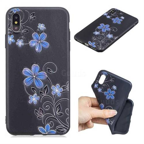 Little Blue Flowers 3D Embossed Relief Black TPU Cell Phone Back Cover for iPhone XS Max (6.5 inch)