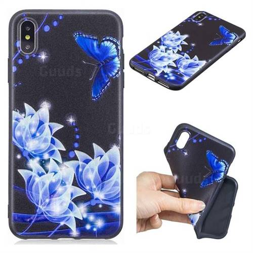 Blue Butterfly 3D Embossed Relief Black TPU Cell Phone Back Cover for iPhone XS Max (6.5 inch)