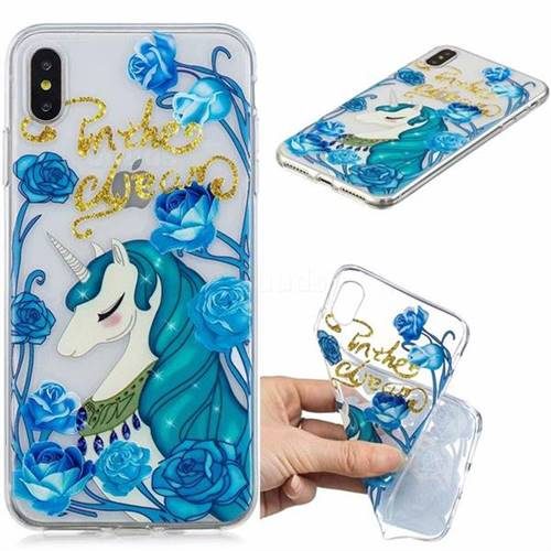 Blue Flower Unicorn Clear Varnish Soft Phone Back Cover for iPhone XS Max (6.5 inch)