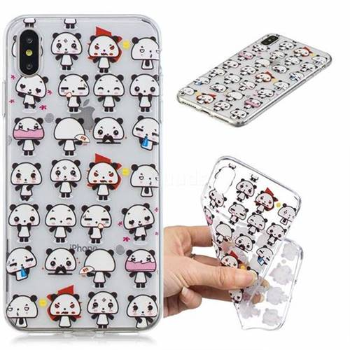 Mini Panda Clear Varnish Soft Phone Back Cover for iPhone XS Max (6.5 inch)