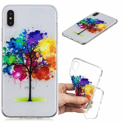 Oil Painting Tree Clear Varnish Soft Phone Back Cover for iPhone XS Max (6.5 inch)