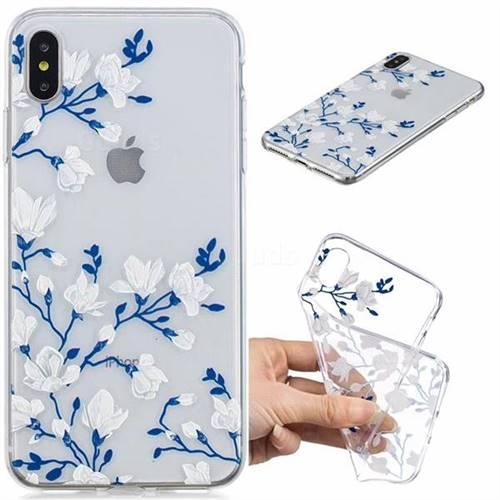 Magnolia Flower Clear Varnish Soft Phone Back Cover for iPhone XS Max (6.5 inch)