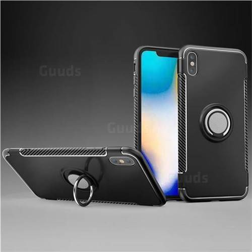 Armor Anti Drop Carbon PC + Silicon Invisible Ring Holder Phone Case for iPhone XS Max (6.5 inch) - Black