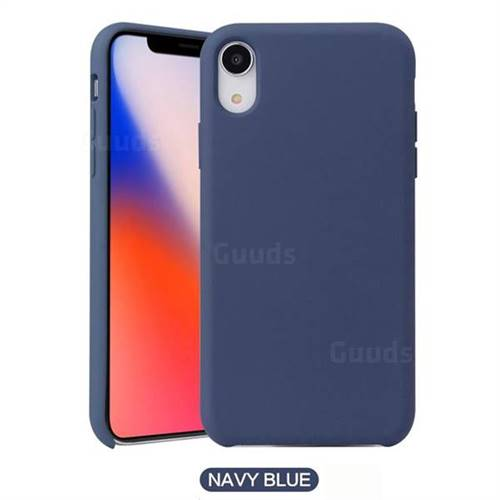 Howmak Slim Liquid Silicone Rubber Shockproof Phone Case Cover for iPhone XS Max (6.5 inch) - Midnight Blue