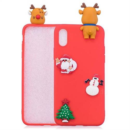 Red Elk Christmas Xmax Soft 3D Silicone Case for iPhone XS Max (6.5 inch)