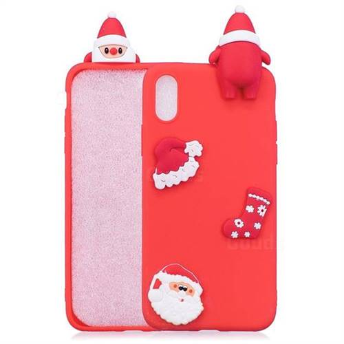 Red Santa Claus Christmas Xmax Soft 3D Silicone Case for iPhone XS Max (6.5 inch)