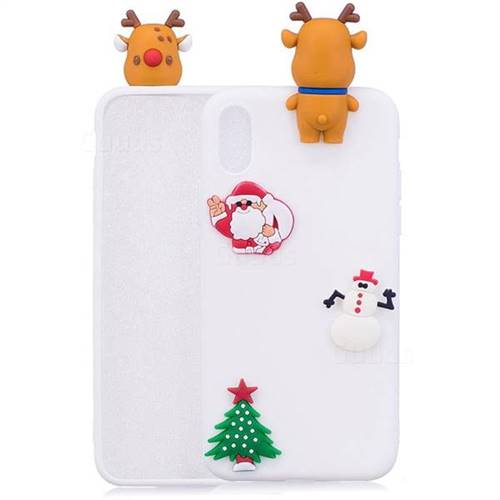 White Elk Christmas Xmax Soft 3D Silicone Case for iPhone XS Max (6.5 inch)