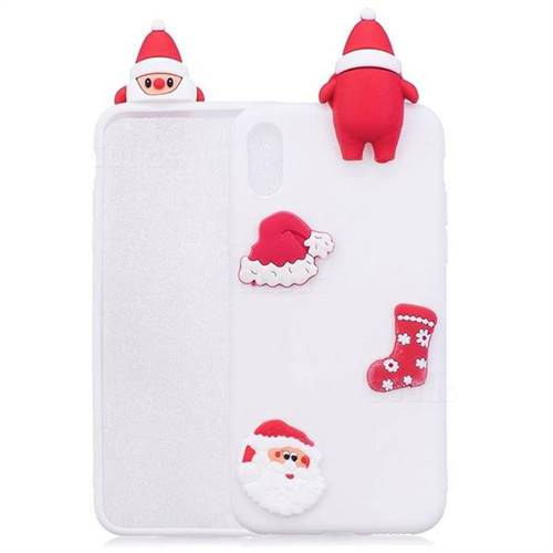 White Santa Claus Christmas Xmax Soft 3D Silicone Case for iPhone XS Max (6.5 inch)