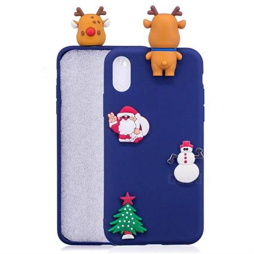 Navy Elk Christmas Xmax Soft 3D Silicone Case for iPhone XS Max (6.5 inch)