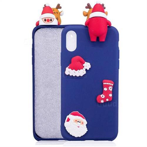 Navy Santa Claus Christmas Xmax Soft 3D Silicone Case for iPhone XS Max (6.5 inch)
