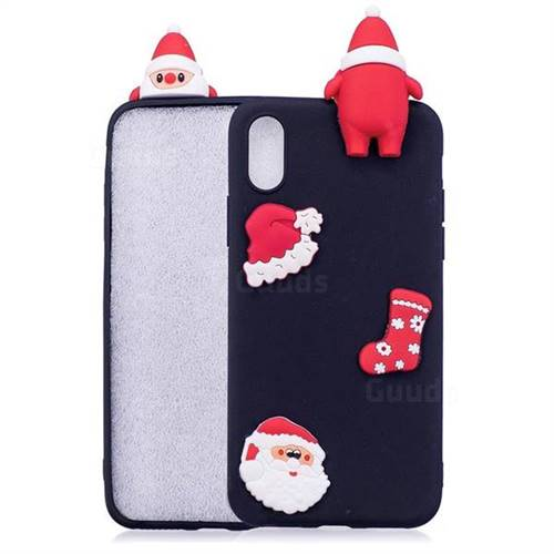 Black Santa Claus Christmas Xmax Soft 3D Silicone Case for iPhone XS Max (6.5 inch)