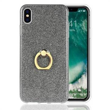 Luxury Soft TPU Glitter Back Ring Cover with 360 Rotate Finger Holder Buckle for iPhone XS Max (6.5 inch) - Black