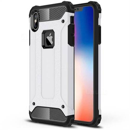King Kong Armor Premium Shockproof Dual Layer Rugged Hard Cover for iPhone XS Max (6.5 inch) - White