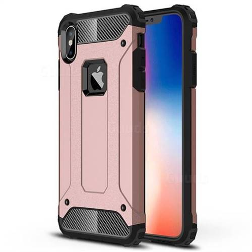 King Kong Armor Premium Shockproof Dual Layer Rugged Hard Cover for iPhone XS Max (6.5 inch) - Rose Gold