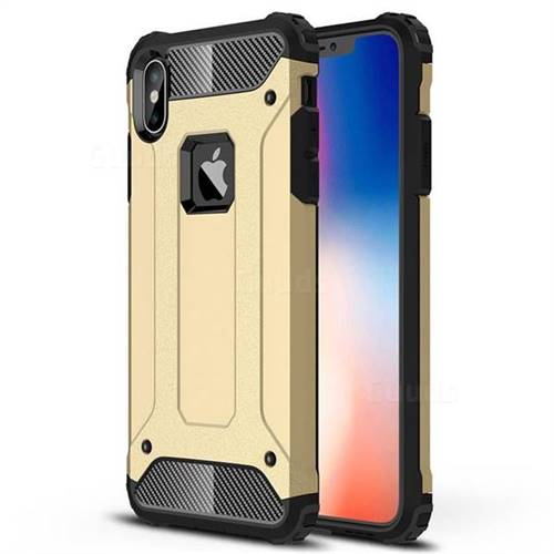 King Kong Armor Premium Shockproof Dual Layer Rugged Hard Cover for iPhone XS Max (6.5 inch) - Champagne Gold