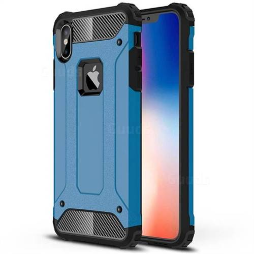 King Kong Armor Premium Shockproof Dual Layer Rugged Hard Cover for iPhone XS Max (6.5 inch) - Sky Blue