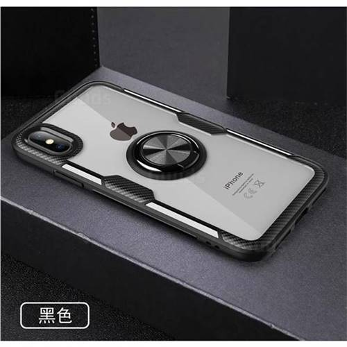 Acrylic Glass Carbon Invisible Ring Holder Phone Cover for iPhone XS Max (6.5 inch) - Black