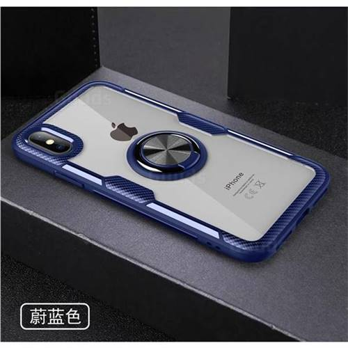 d7b3fa3f48d1a9 Acrylic Glass Carbon Invisible Ring Holder Phone Cover for iPhone XS Max  (6.5 inch) - Azure - Back Cover - Guuds