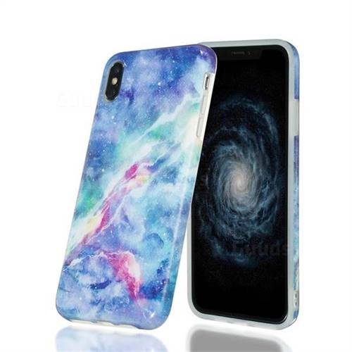 Blue Starry Sky Marble Clear Bumper Glossy Rubber Silicone Phone Case for iPhone XS Max (6.5 inch)