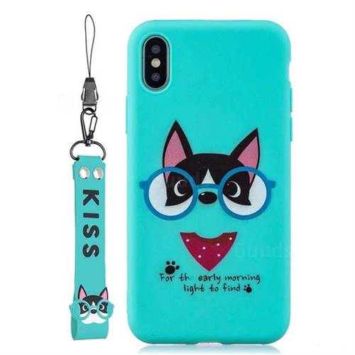 Green Glasses Dog Soft Kiss Candy Hand Strap Silicone Case for iPhone XS Max (6.5 inch)