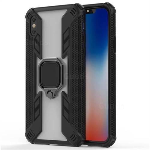 Predator Armor Metal Ring Grip Shockproof Dual Layer Rugged Hard Cover for iPhone XS Max (6.5 inch) - Black