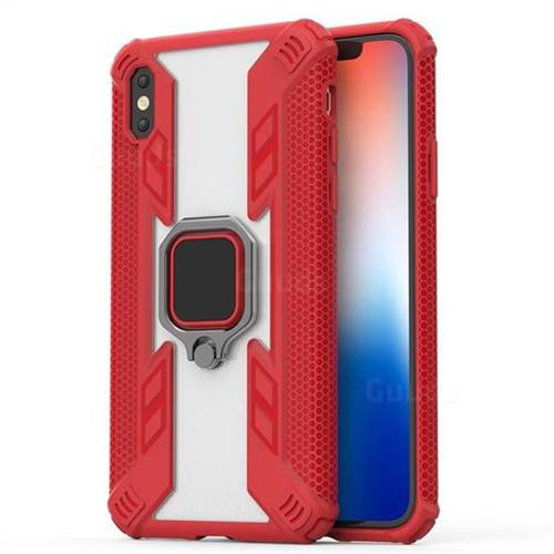 Predator Armor Metal Ring Grip Shockproof Dual Layer Rugged Hard Cover for iPhone XS Max (6.5 inch) - Red