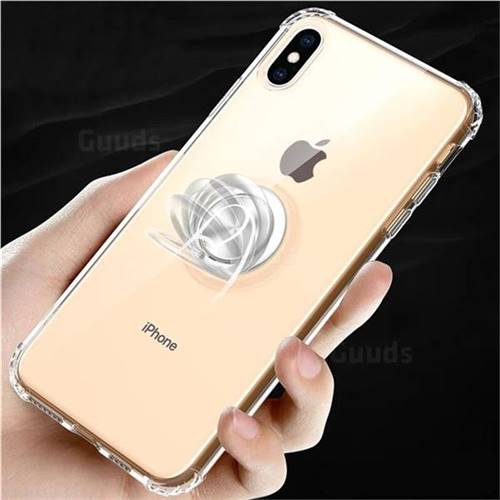 Anti-fall Invisible Press Bounce Ring Holder Phone Cover for iPhone XS Max (6.5 inch) - Transparent
