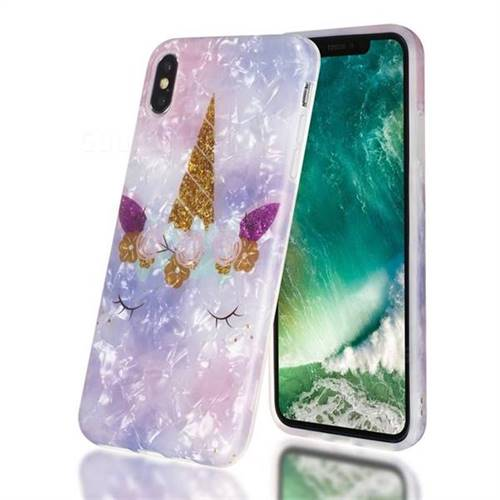 Unicorn Girl Shell Pattern Clear Bumper Glossy Rubber Silicone Phone Case for iPhone XS Max (6.5 inch)