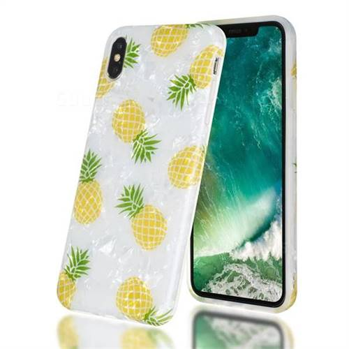 Yellow Pineapple Shell Pattern Clear Bumper Glossy Rubber Silicone Phone Case for iPhone XS Max (6.5 inch)