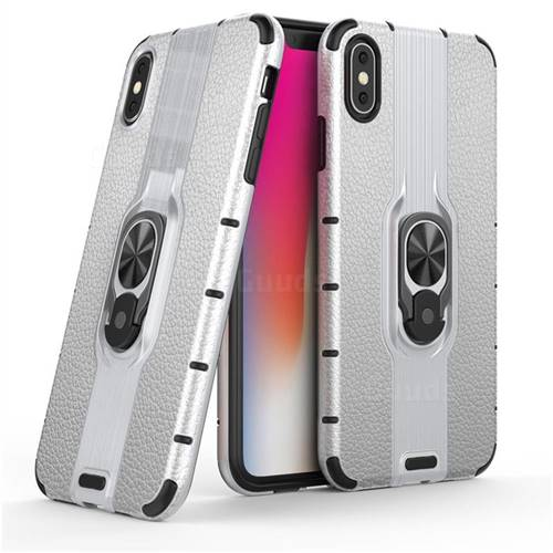 Alita Battle Angel Armor Metal Ring Grip Shockproof Dual Layer Rugged Hard Cover for iPhone XS Max (6.5 inch) - Silver