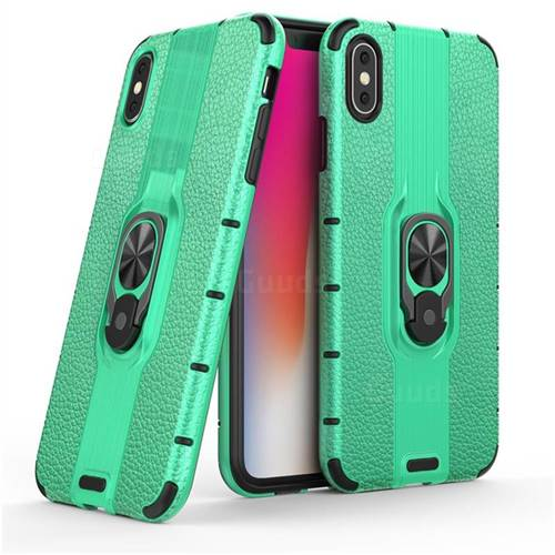Alita Battle Angel Armor Metal Ring Grip Shockproof Dual Layer Rugged Hard Cover for iPhone XS Max (6.5 inch) - Green
