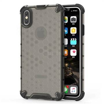 Honeycomb TPU + PC Hybrid Armor Shockproof Case Cover for iPhone XS Max (6.5 inch) - Gray