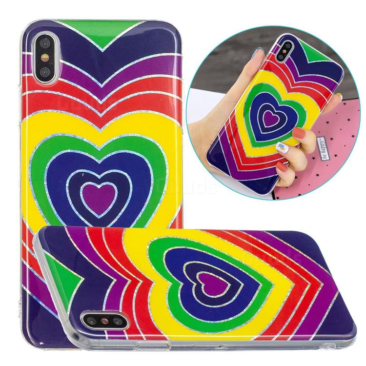 Rainbow Heart Painted Galvanized Electroplating Soft Phone Case Cover for iPhone XS Max (6.5 inch)