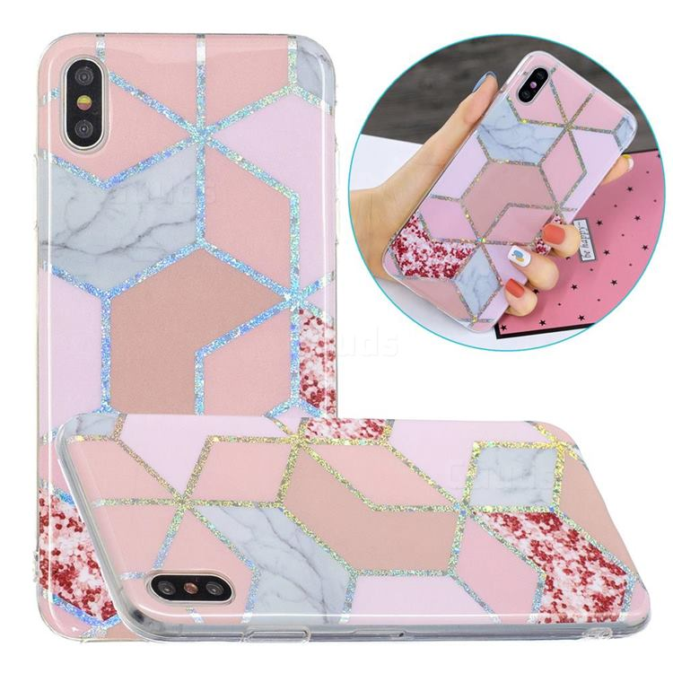 Pink Marble Painted Galvanized Electroplating Soft Phone Case Cover for iPhone XS Max (6.5 inch)