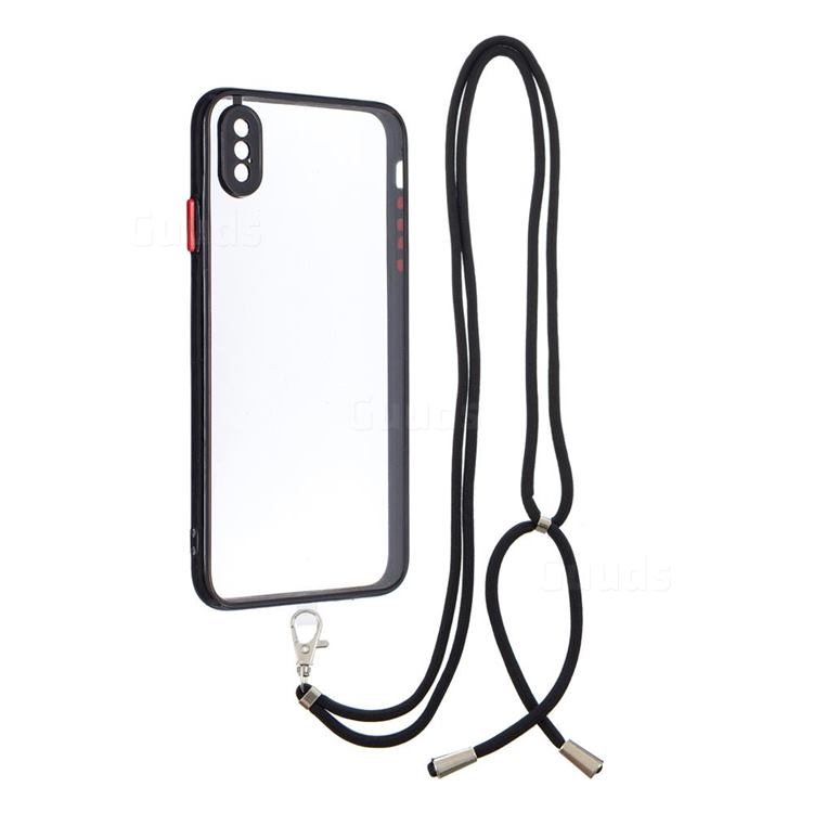 Necklace Cross-body Lanyard Strap Cord Phone Case Cover for iPhone XS Max (6.5 inch) - Black