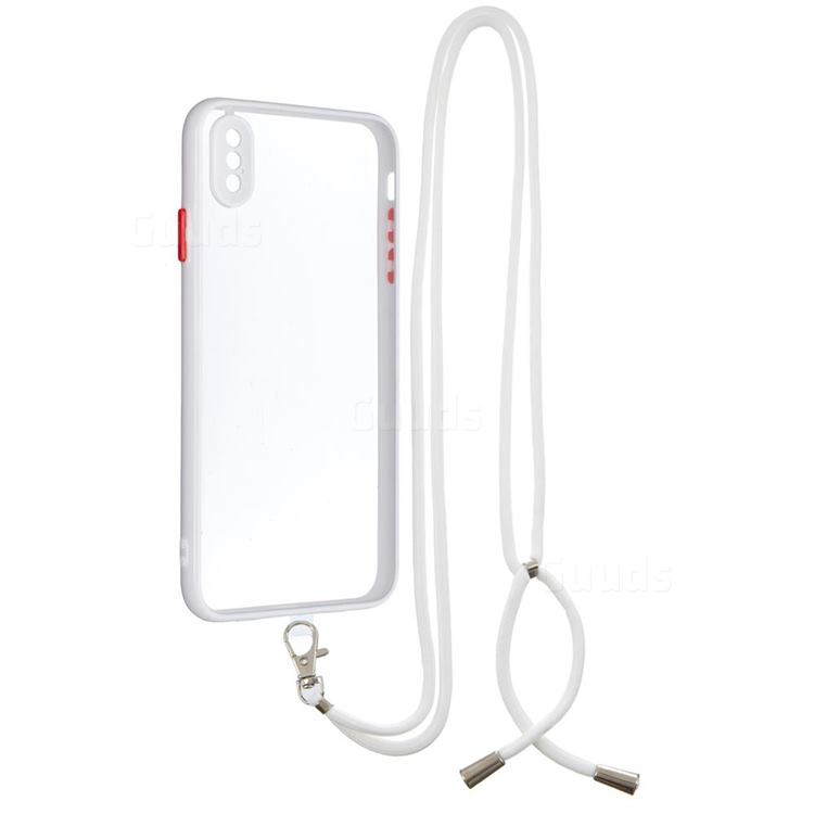 Necklace Cross-body Lanyard Strap Cord Phone Case Cover for iPhone XS Max (6.5 inch) - White