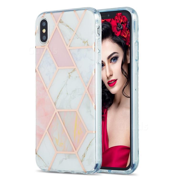 Pink White Marble Pattern Galvanized Electroplating Protective Case Cover for iPhone XS Max (6.5 inch)