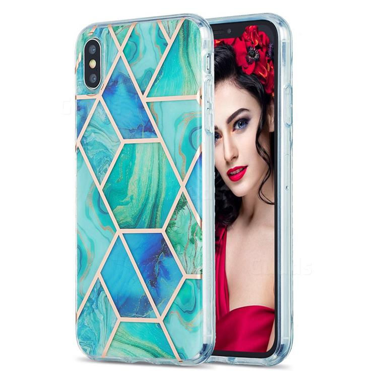 Green Glacier Marble Pattern Galvanized Electroplating Protective Case Cover for iPhone XS Max (6.5 inch)