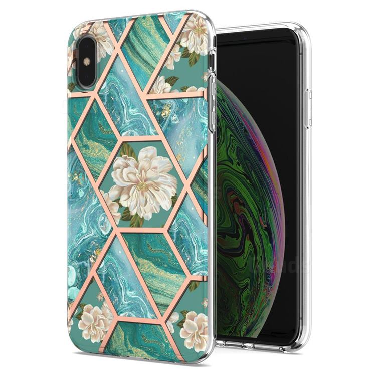 Blue Chrysanthemum Marble Electroplating Protective Case Cover for iPhone XS Max (6.5 inch)
