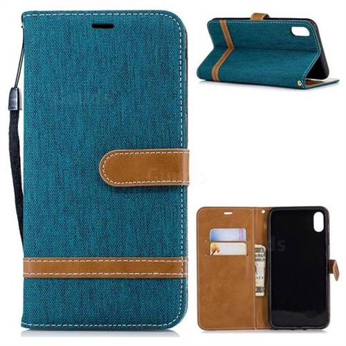 Jeans Cowboy Denim Leather Wallet Case for iPhone X Plus (6.5 inch) - Green