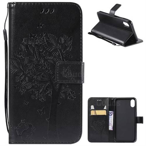 Embossing Butterfly Tree Leather Wallet Case for iPhone XS Max (6.5 inch) - Black