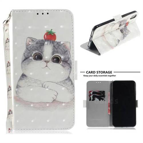 Cute Tomato Cat 3D Painted Leather Wallet Phone Case for iPhone XS Max (6.5 inch)